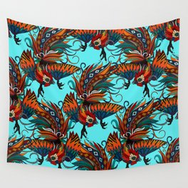 rooster ink turquoise Wall Tapestry