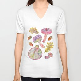 Wild Mushrooms - Russulas and Oak Unisex V-Neck