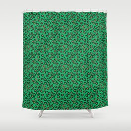 Greenery Green and Beige Leopard Spotted Animal Print Pattern Shower Curtain