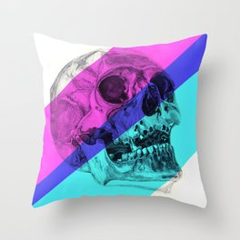 Skull pencil drawing with colour Throw Pillow
