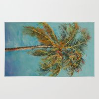 palm tree Area & Throw Rugs featuring Palm Tree by Michael Creese