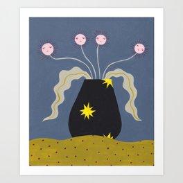Quatre Fleurs À Visage Art Print
