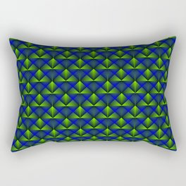 Chaotic pattern of green rhombuses and blue pyramids. Rectangular Pillow