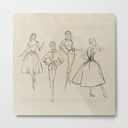 Vintage Fashion Sketches Metal Print