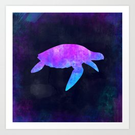 SEA TURTLE IN SPACE // Animal Graphic Art // Watercolor Canvas Painting // Modern Minimal Cute Art Print