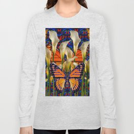 DECORATIVE WHITE CALLA LILIES & MONARCH BUTTERFLY GARDEN COLLAGE Long Sleeve T-shirt