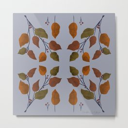 Autumn leaves and berries symmetrical pattern on light blue background Metal Print