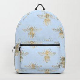 Pretty Pale Blue and Gold Bee Pattern Backpack