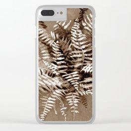 Fern, floral art, brown scale, monochrome Clear iPhone Case