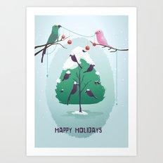 Happy Holidays - A Parrots Christmas  Art Print