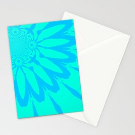 The Modern Flower Aqua Turquoise Blue Stationery Cards