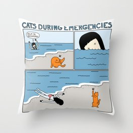 Cats During Emergencies Throw Pillow