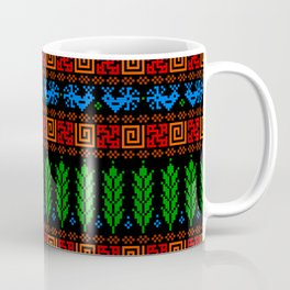 Abundance Force - Spiritual Strength - Bird - Sprouts - Slavic Pagan Symbol - Folk Ornament - Black Coffee Mug