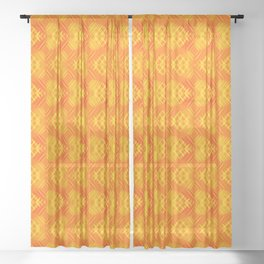 Striped yellow hearts on an orange background. Sheer Curtain