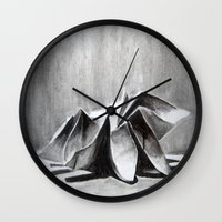 origami Wall Clocks featuring Origami  by The Traveling Catburys