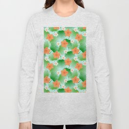 Tropical orange green teal floral palm tree pattern Long Sleeve T-shirt
