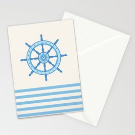 AFE Baby Blue Helm Wheel, Nautical Art Stationery Cards
