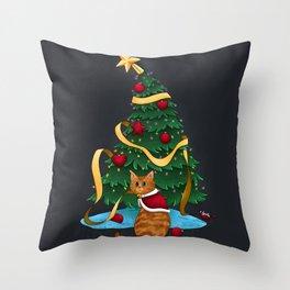 Guilty Christmas Kitty Throw Pillow