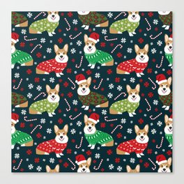 Corgi christmas sweater ugly sweater party with welsh corgis dog lovers dream christmas Canvas Print