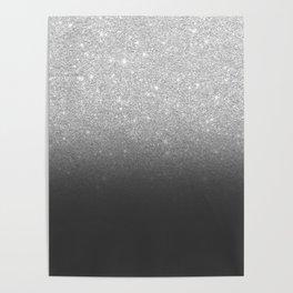 Modern faux silver glitter ombre grey black color block Poster