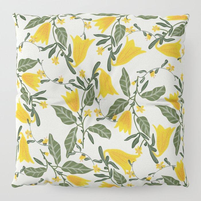 Yellow Bright Flower Pattern Floor Pillow