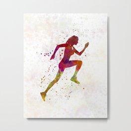 Woman runner running jogger jogging silhouette 02 Metal Print