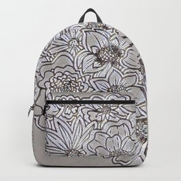 Floral Gray Glass Backpack