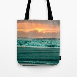Turquoise Ocean Pink Sunset Tote Bag