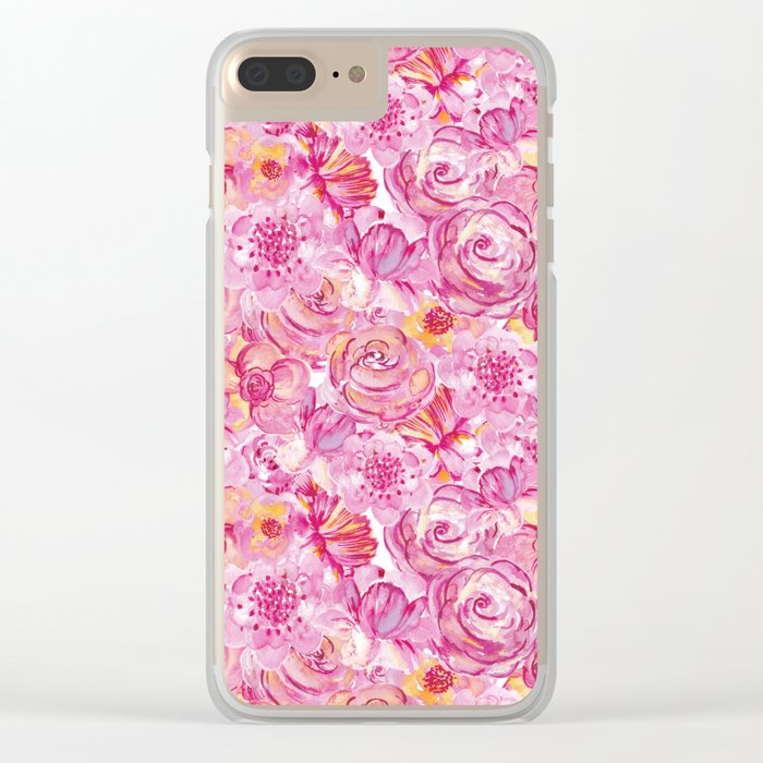 Rose pattern - Floral roses watercolor pattern Clear iPhone Case