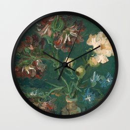 Van Gogh - Small Bottle with Peonies and Blue Delphiniums Wall Clock