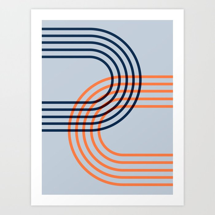 Counterbalance - orange blue Art Print