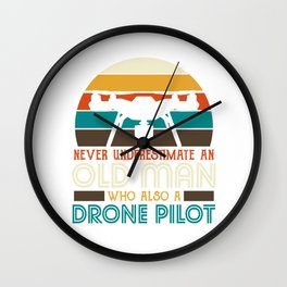 An old man who also a drone pilot Wall Clock