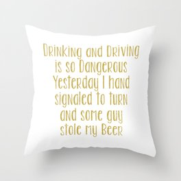 Drinking and Driving is so Dangerous, Yesterday I Hand Signaled to Turn and Some Guy Stole My Beer Throw Pillow