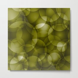 Dark intersecting translucent olive circles in bright colors with an oily glow. Metal Print