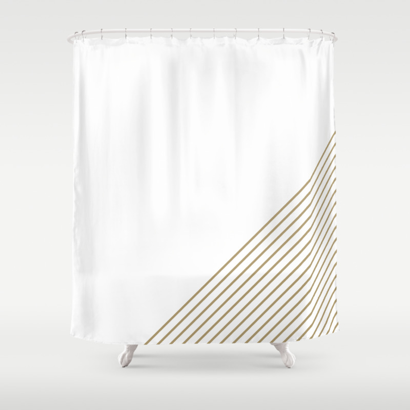 Tan White Stripes Shower Curtain