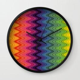 Rainbow waves pattern vertical Wall Clock