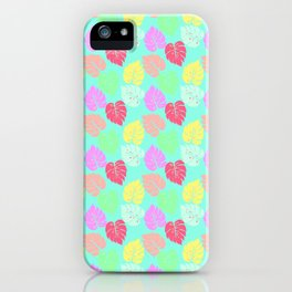Pastel Rainbow Monstera iPhone Case