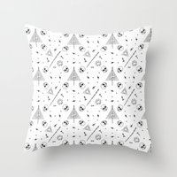 deathly hallows Throw Pillows featuring Deathly Hallows (White) by Mírë