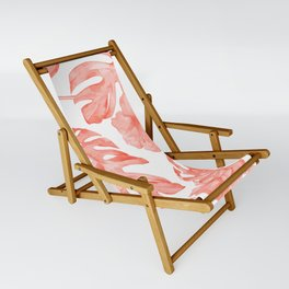 Tropical Hibiscus and Palm Leaves Dark Coral White Sling Chair
