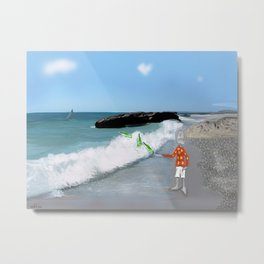 Corky's throwing a bottle to the sea Metal Print