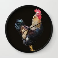 rooster Wall Clocks featuring Rooster by Sean Foreman