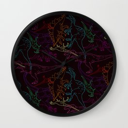 Psychedelic Dino Wall Clock