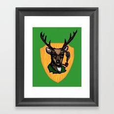 Pipe Smoking Deer Framed Art Print