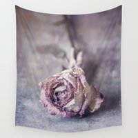 depression Wall Tapestries featuring Dried Rose by Maria Heyens