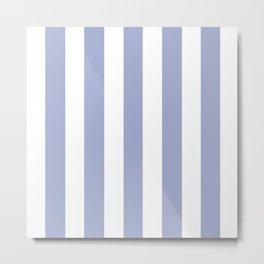 Wild blue yonder - solid color - white vertical lines pattern Metal Print