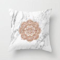 Rose gold mandala on marble Throw Pillow