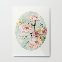 Blue Oval Peonies & Poppies Metal Print