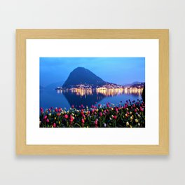 Tulips - Lake Lugano, Switzerland Landscape Photograph Framed Art Print