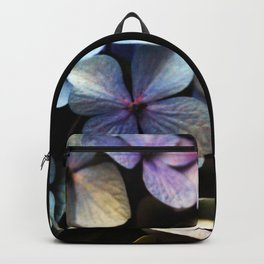 blue hydrangea flower macro Backpack