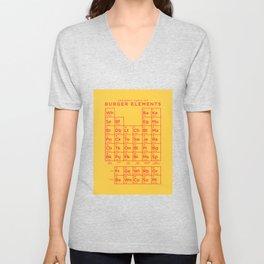 Periodic Table of Burger Elements - Yellow Unisex V-Neck